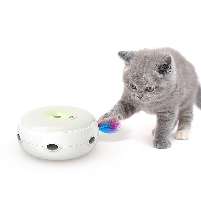 VAVAPet Juguete Interactivo de Plumas para Gatos, Juguetes electrónicos para Gatos, Cambia de dirección al Azar, estimula los sentidos del Gato e instintos ...