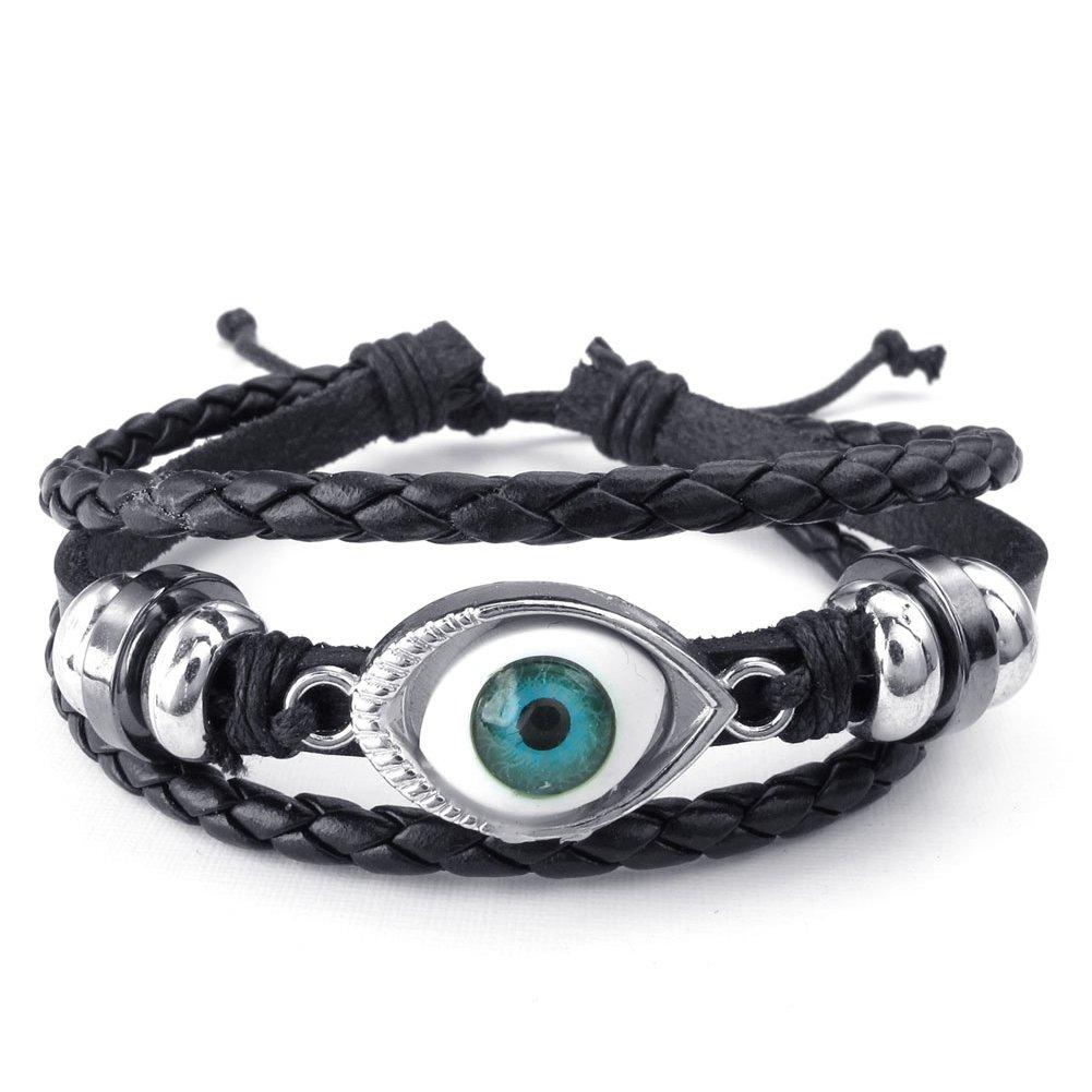 TEMEGO Mens Womens Leather Braided Beads Gothic Evil Eye Bracelet Wristband Surfer Wrap Bracelet