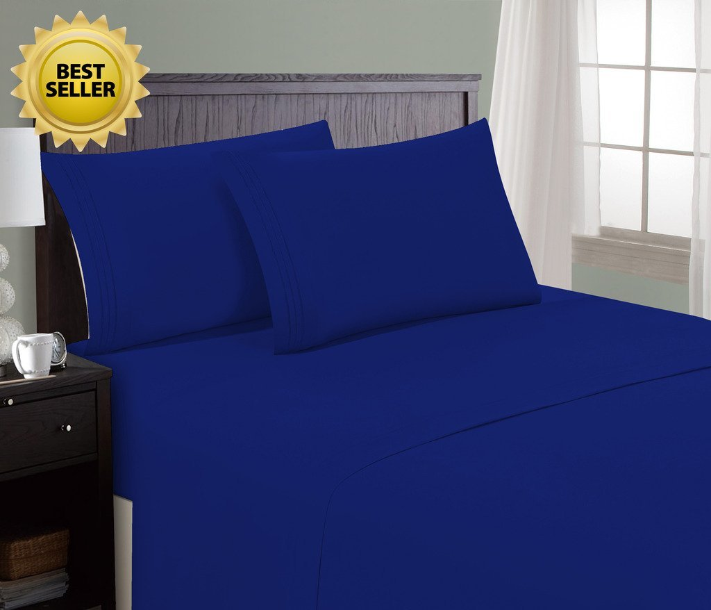 Queen, Royal Blue HC Collection Bed Sheet & Pillowcase Set