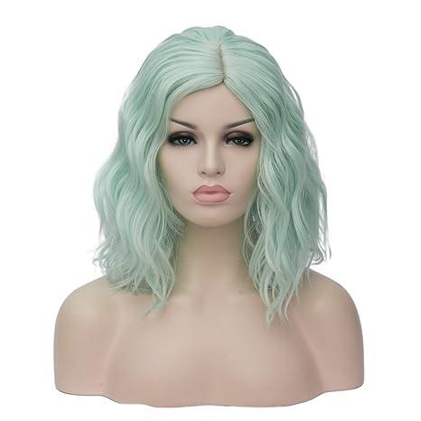 ATAYOU-WIG Mujer Hombros bob Pequeños rizos ondulados Elegante peluca (Verde claro)
