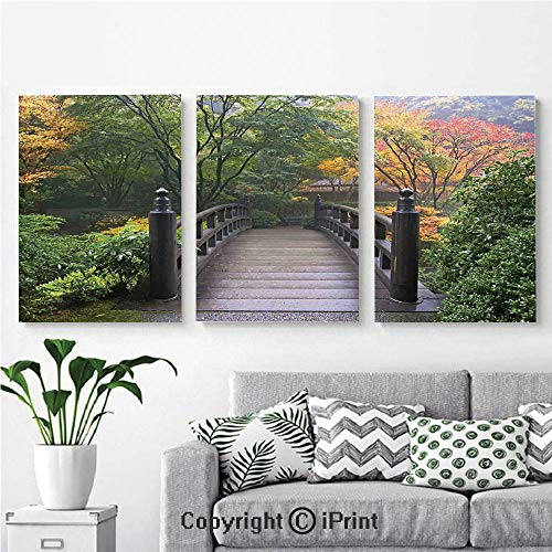 (Modern Gallery Wrapped Canvas Print Wooden Bridge at Portland Japanese Garden Oregon in Foggy Autumnal Morning Park 3 Panels Pictures on Canvas Wall Art Ready to Hang for Living Room Kitchen Home Dec)