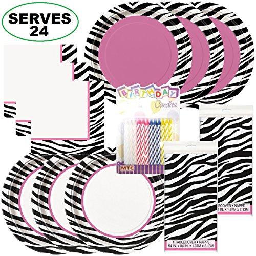 Zebra Passion Super Bundle Party Supplies, Serves 24