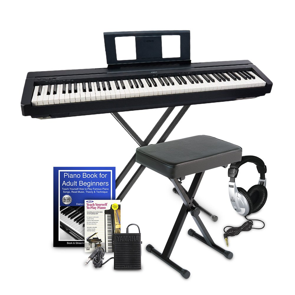 Yamaha P45 Digital Piano Education Bundle, Black with Yamaha Accessories and Headphones
