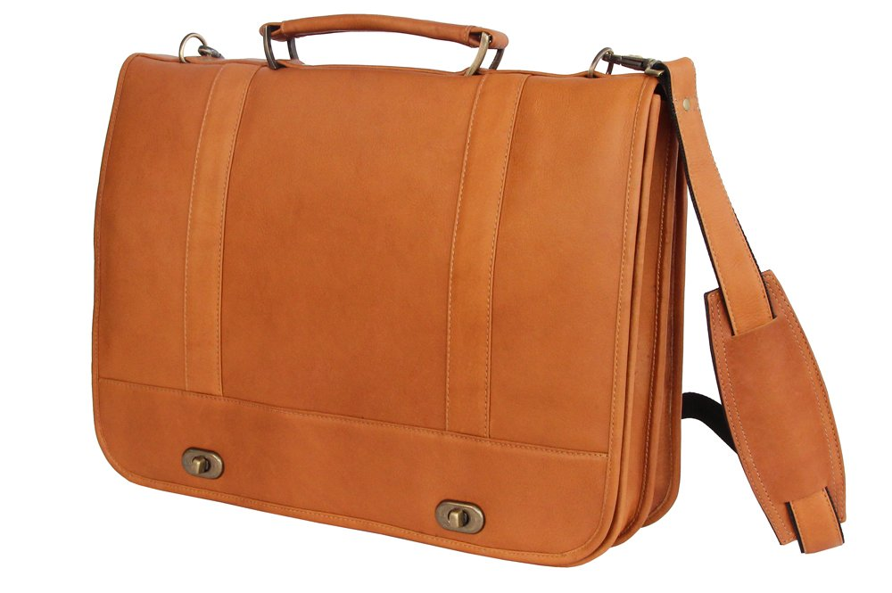 David King & Co. Full Flap Turn Lock Briefcase, Tan, One Size durable service