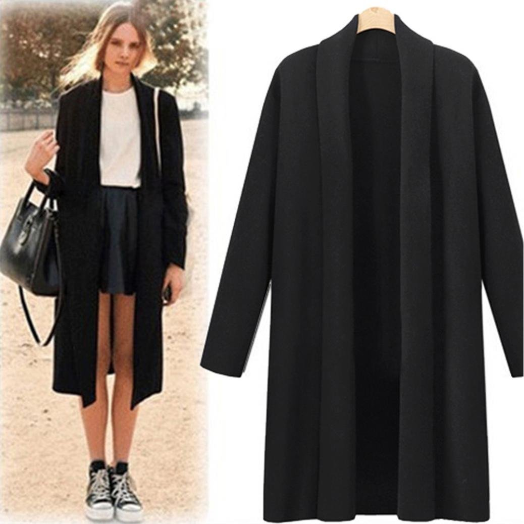 YANG-YI Clearance, Fashion Womens Open Front Trench Coat Long Cloak Jackets Waterfall Cardigan (Black, 3XL) by YANG-YI (Image #2)