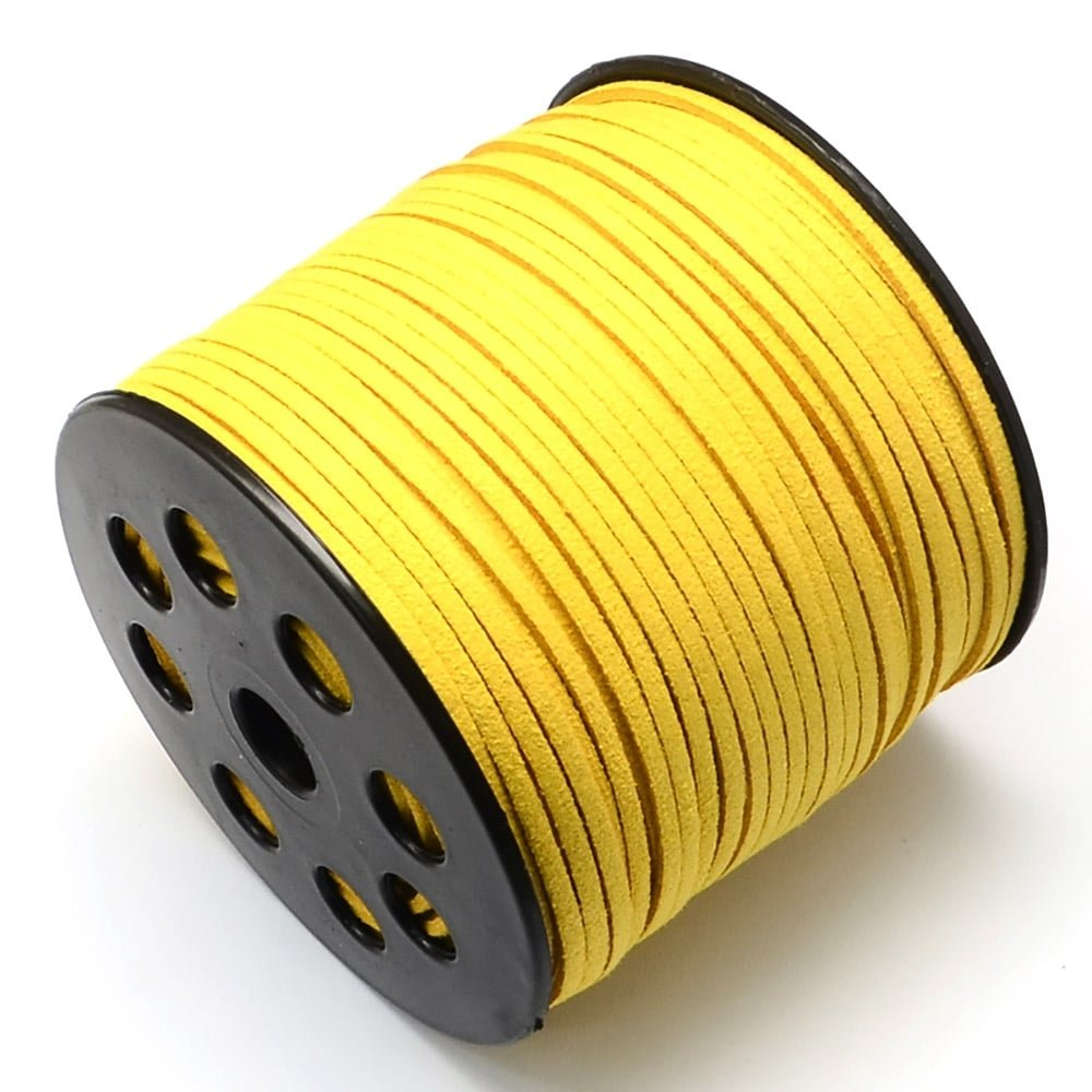 3mm Flat Faux Suede Cord - Golden Yellow - 5m The Bead Shop