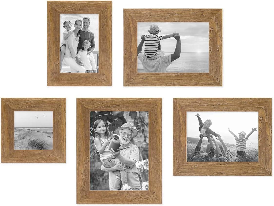 26 PHOTOLINI 10er Bilderrahmen Set 10x10, 10x110, 10x10 und 110x10 cm Strandhaus  Rustikal Eiche Optik Natur Massivholz mit Glasscheibe inkl. ...