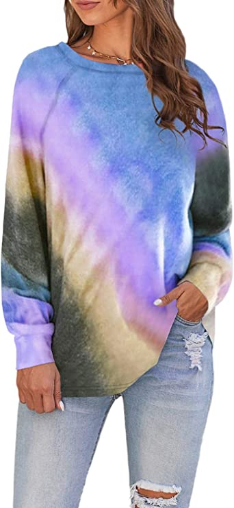 VECVOC Women's Long Sleeve Tie Dye Sweatshirt Loose Printed Pullover