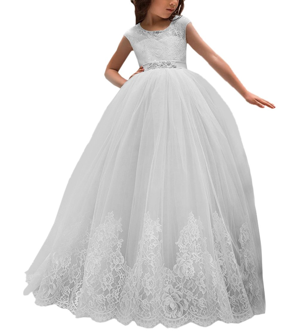 Flower Girl Dress for Wedding Kids Lace Pageant Ball Gowns (Size 4, White)