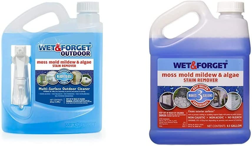 Wet & Forget No Scrub Outdoor Cleaner for Easy Removal of Mold, Mildew and Algae Stains, Bleach-Free Formula, 64 Oz. Ready to Use & 800003 USA Moss Mold and Mildew Stain Remover, 0.5-Gallon
