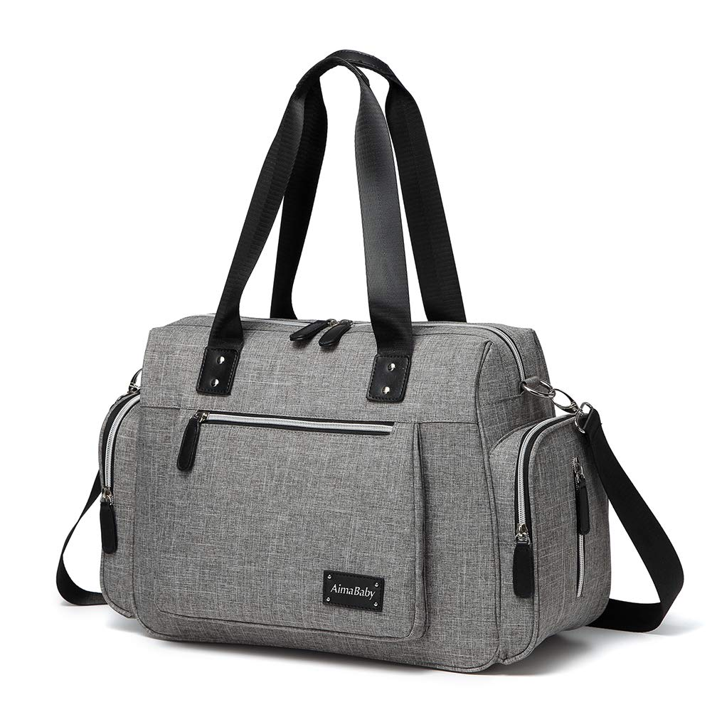 HaloVa Diaper Bag, Baby Diaper Tote, Trendy Mommy Maternity Nappy Bag, Large Handbag with Shoulder Strap, Baby Changing Pad and Wet Clothing Bag, Thermal Insulation Milk Bottle Pockets, Dark Gray