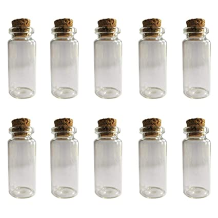 59969956735a LLBH 10 Pcs 10 ml Message Bottles Spice Storage Glass Vials Cork Top