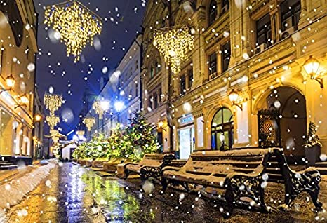 Christmas In Europe Wallpaper.Yeele 8x6ft Winter Snowflake Street Backdrop For Photography City Night Europe Building Background Christmas Child Kid Adult Portrait Shooting Studio
