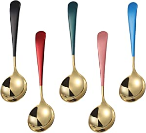 Metal Soup Spoons,Stainless Steel Spoons for Soup Round Colorful Dinner Spoons Thick Short handle Table Spoon 6.3-Inch, Set of 5 (Gold)