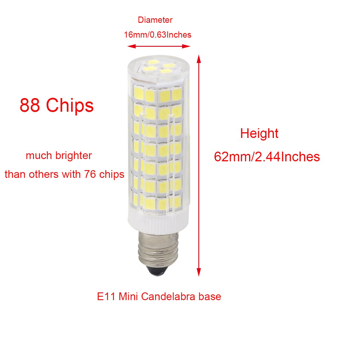 Perfect Complement for Chandeliers and Decorative Lamps 3 Pack Crystalumia DQ51E12ND27K120V E12 Warm White 2700K 4.3w ~30 Watt Equivalent Candle Bulb Crystal LED Light Bulbs Small Candelabra Base Long Lifetime Last 13 Yrs