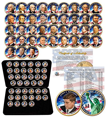 Us Presidents Dollar Coins - 39 COIN Complete Set PRESIDENTIAL $1 US DOLLAR FULLY COLORIZED 2-SIDED with BOX