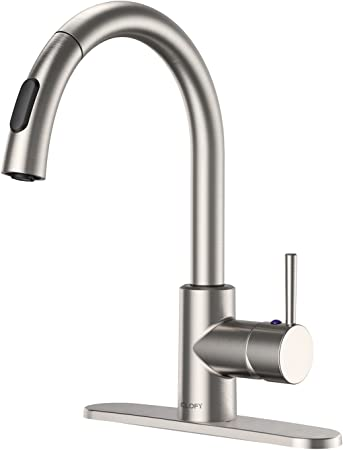 CLOFY Commercial Faucets, Single-Handle Pull-Down Spray Kitchen Faucet,  High Water Pressure Single Level High Arc Lead-free Pull-Out Kitchen Sink  ...