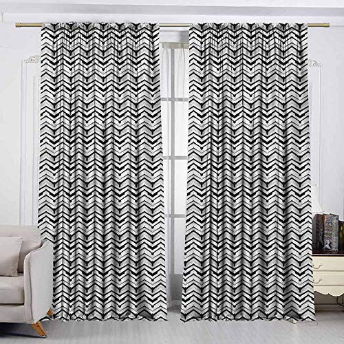 - VIVIDX Curtains for livingroom/Bedroom,Abstract,Monochrome Chevron Pattern with Geometric Elements Roof Tile Three Dimensional,Decor Thermal/Room Darkening Window Curtains,W72x45L Inches Black White