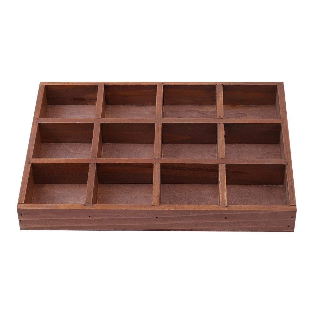 Whitelotous 12 Grids Wooden Storage Box Retro Jewelry Cosmetics Container Desktop Tools Succulents Potted Flowers Holder Organizer