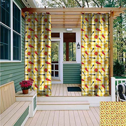 (Beihai1Sun Custom Outdoor Curtain,Food Plaid Pattern Cooking Pepper,for Porch&Beach&Patio,W108x108L)