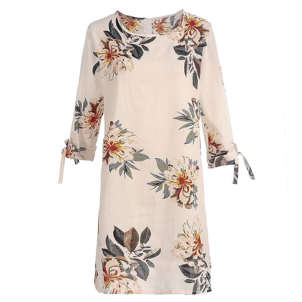 Toamen Summer T Shirt Dress Sale Floral Print Short Sleeve Bow Bandage Tunic Tops Beach Party Swing A-line Mini Dress Sundress
