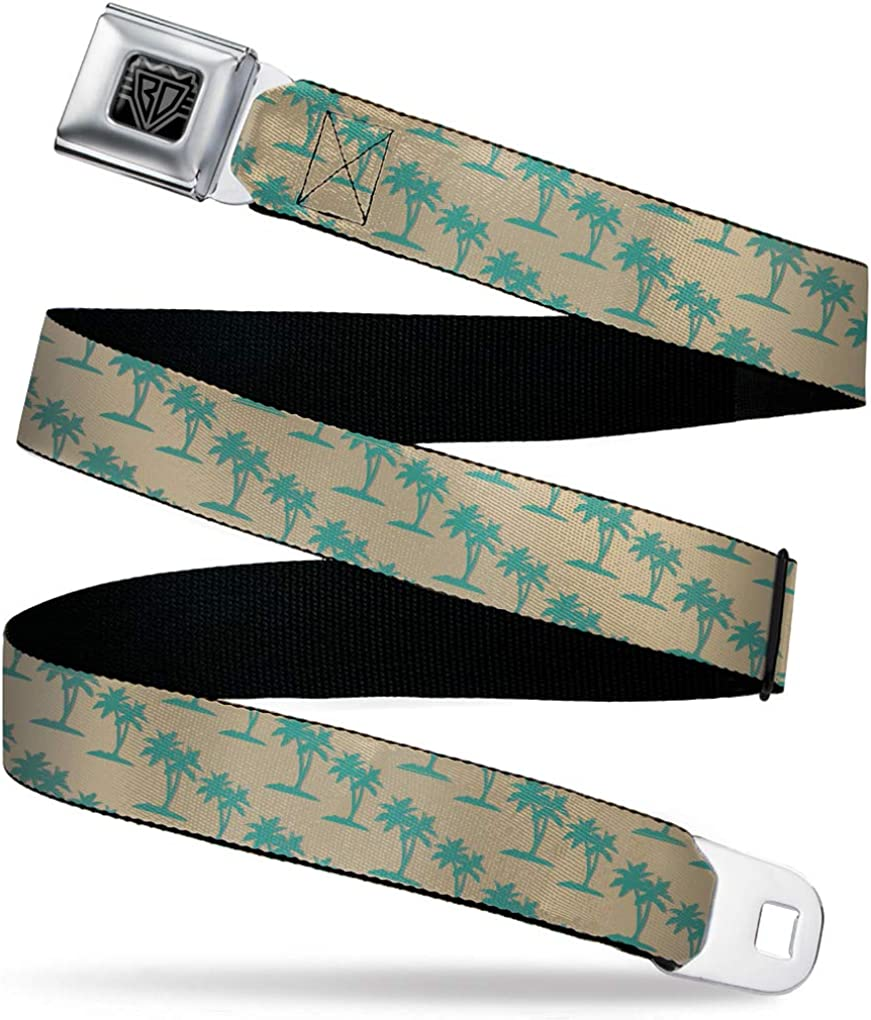 Palm Trees Silhouette Monogram tan//Turquoise 1.0 Wide-20-36 Inches Buckle-Down Mens Seatbelt Belt Kids
