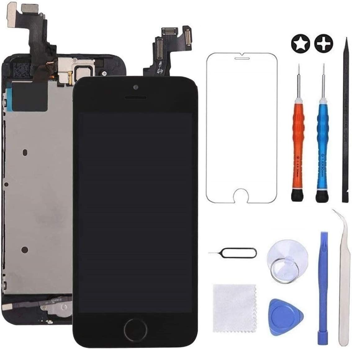 GULEEK for iPhone 5s/Se Screen Replacement Black Touch Display LCD Digitizer Full Assembly with Front Camera,Proximity Sensor,Ear Speaker and Home Button Including Repair Tool and Screen Protector