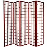 5 panel divider - Oriental Furniture 6 ft. Tall Window Pane Shoji Screen - Rosewood - 5 Panels
