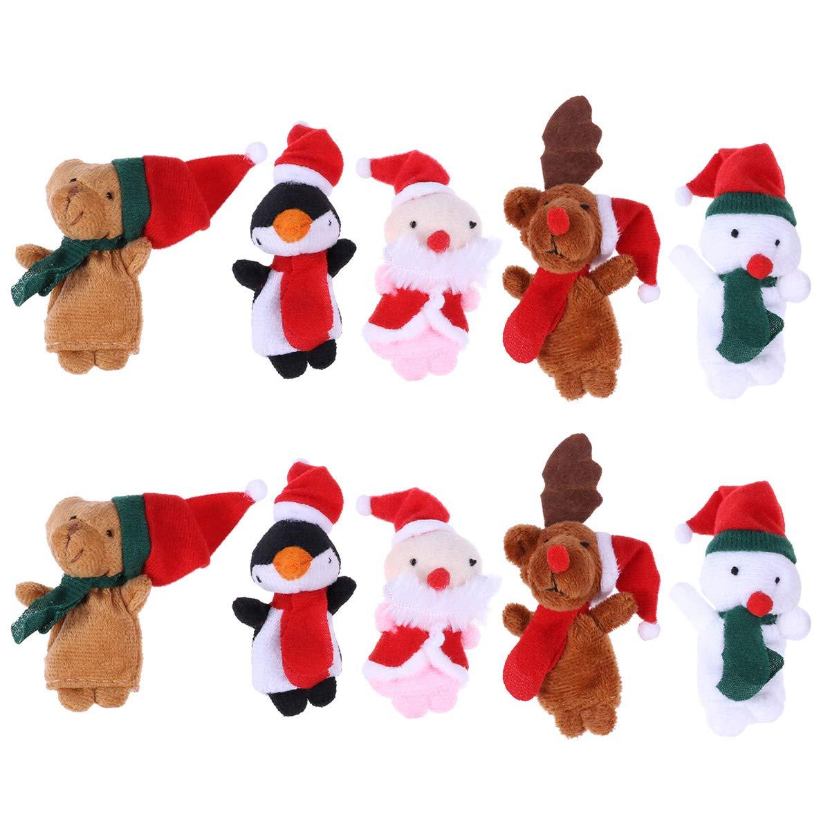 BESTOYARD 10 Stücke Weihnachten Fingerpuppen Plüsch Tier Figur Kleine Handpuppe Set Puppen Spielzeug Geschenk für Baby Kinder