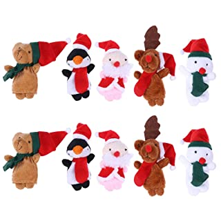 STOBOK Burattini Marionette da Dito Natale Babbo Natale Pupazzo di Neve Renna Orso 10 Pezzi