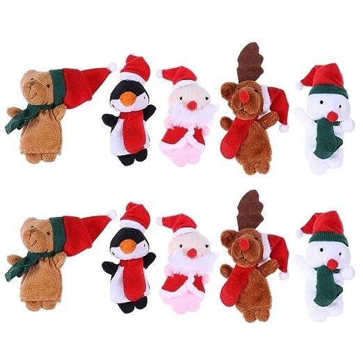 Bestoyard 10 Stücke Weihnachten Fingerpuppen Santa Elk Sonowman