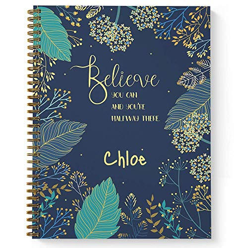 Notepad Covered - Believe You Can Personalized Motivational Notebook/Journal, Laminated Soft Cover, 120 College Ruled pages, lay flat wire-o spiral. Size: 8.5