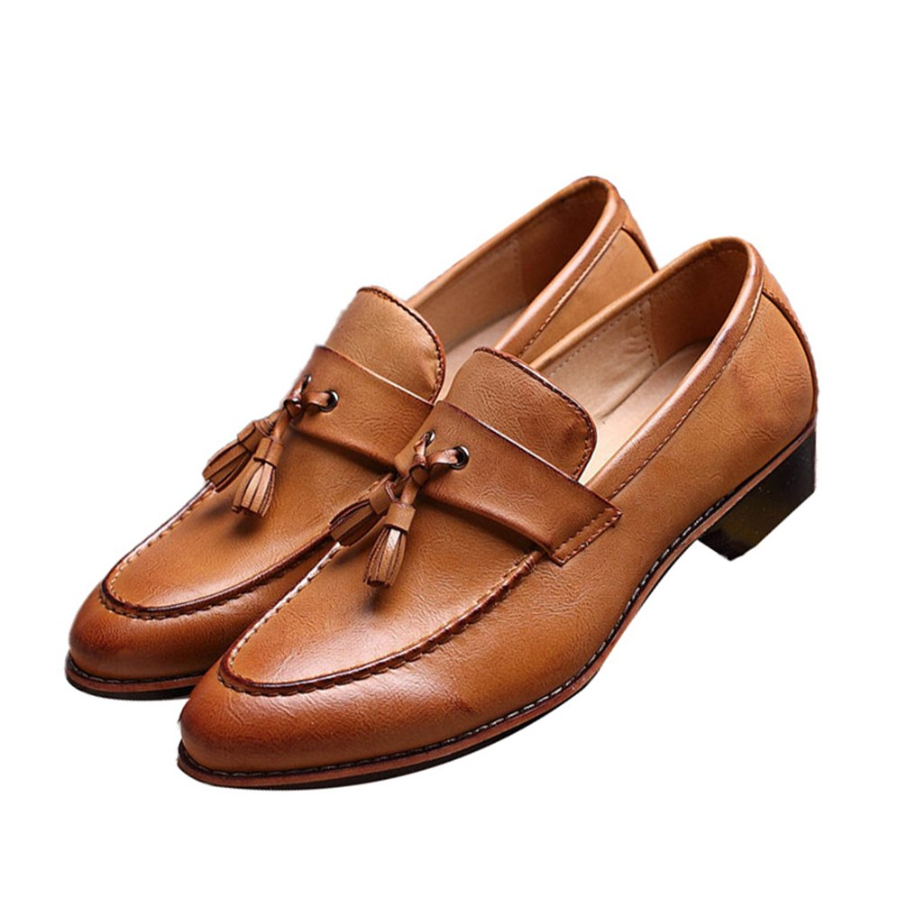Men Loafers - Fashion Flat Pointed Toe Tassels Slip-On Driver Dress Shoes