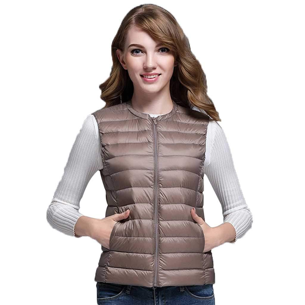 Brown Down Vest Women's Lightweight Thin Sleeveless Short Winter Large Size Adult Casual No Cap