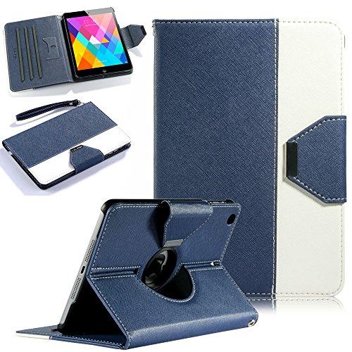 iPad mini Case, iPad mini 2/3 Case - ULAK 360 Degree Rotating Multi-Angle Stand Cover with Auto Wake/Sleep for iPad Mini 1/2/3 (Navy blue/White)
