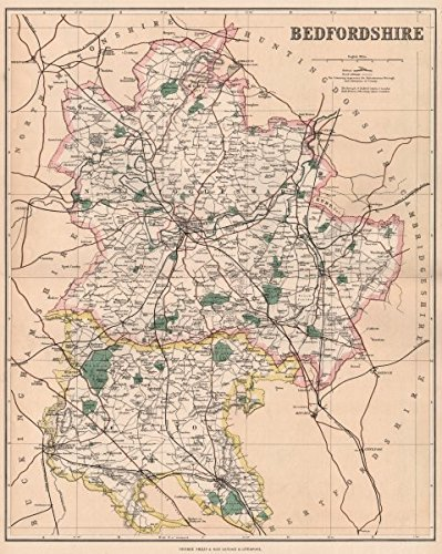 county map luton biggleswade parliamentary boroughs philip 1902 old