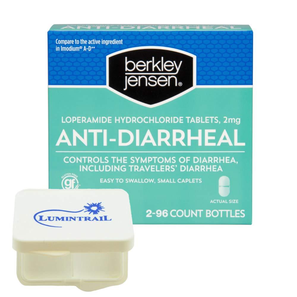 Berkley Jensen Anti-Diarrheal Medicine Loperamide Hydrochloride Tablets 2 mg - 192 Count Bundle with a Lumintrail Pill Case by Berkley and Jensen