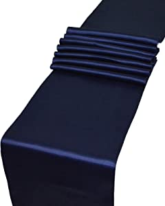 Parfair Dessin Pack of 5 Satin Table Runners 12 x 108 inch for Wedding Banquet Decoration, Bright Silk and Smooth Fabric Party Table Runner - Navy Blue
