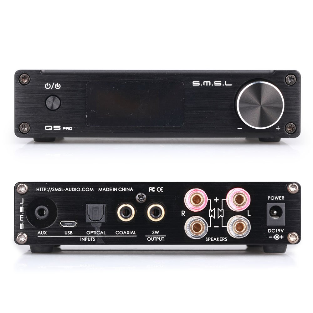 Amazon.com: SMSL Q5 Pro HiFi Power Amplifier Digital Input Optical/Coaxial/USB/ Power 45W2 Remote Control: Home Audio & Theater