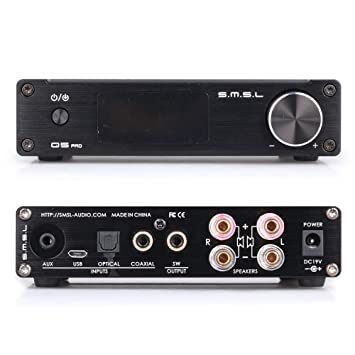 SMSL Q5 Pro HiFi Integrated Mini Digital Stereo Audio 45WPC Pure Digital Amplifier AMP USB Coaxial OPT 3.5mm Headphone Jack Input + Remote Control +Power ...