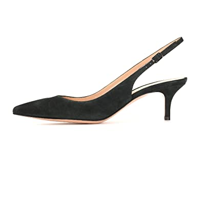 4ea90bc93e17 Sammitop Women s Ladies Pointed Toe Pumps Mid-Heel Slingback Faux Suede Shoes  Black US5
