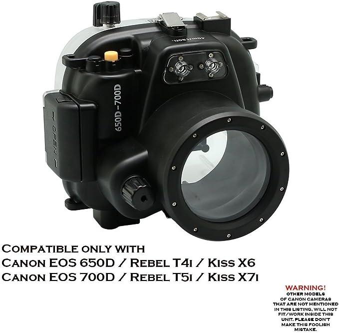 KitDive 40 m/130ft Carcasa submarina para cámara para Canon EOS ...