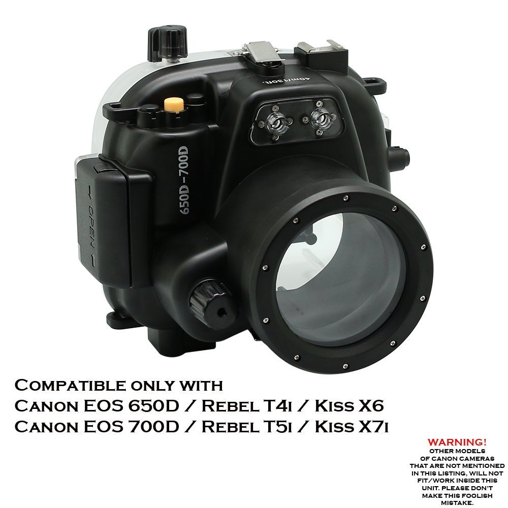 Meikon 40m/130ft Underwater camera housing for Canon EOS 650D/700D ( Rebel T4i/T5i ) by KitDive