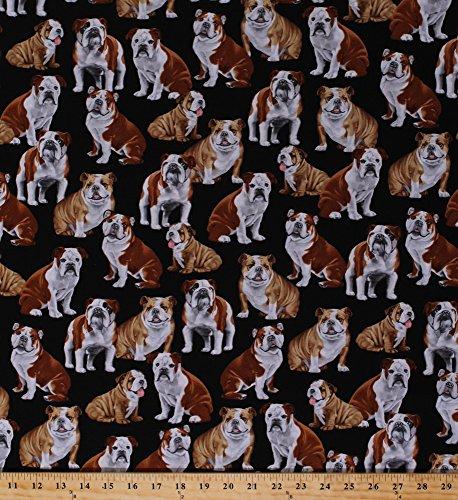 Cotton Bulldog Bulldogs Dogs Puppy Puppies Pets Animals on Black Cotton Fabric Print by the Yard (gm-c4891)