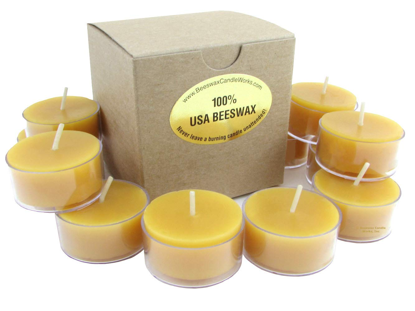 Beeswax Candle Works - 6 Hour Tea Lights 60-Pack - Clear Cups - 100% USA Beeswax by Beeswax Candle Works, Inc