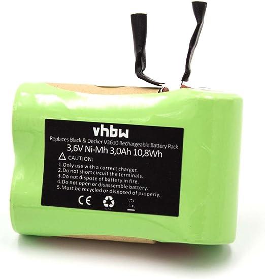 vhbw NiMH batería 3000mAh (3.6V) para aspiradora Black & Decker V3610 por V3610.: Amazon.es: Hogar