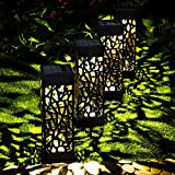 GloBrite 4 Solar Hollow Pathway Garden Stake Lights - Outdoor Waterproof Decorative Landscape Border Yard Pa