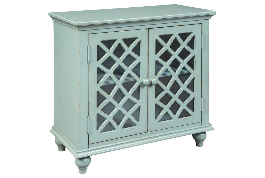 Ashley Furniture Signature Design - Mirimyn 2-Door Accent Cabinet - Traditional - Antique Teal - Lattice Pattern on Glass Door Panels