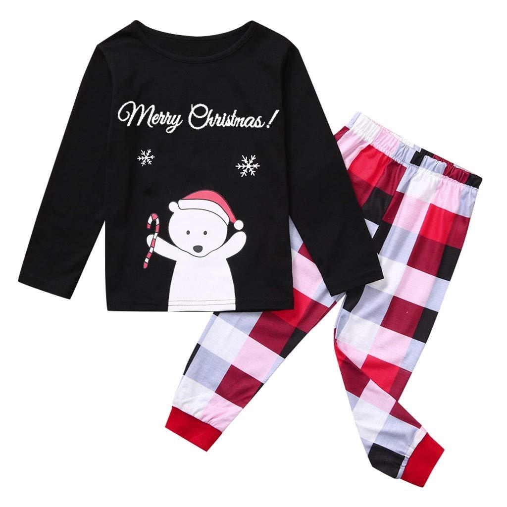 Kinder Jungen M/ädchen Damen Herren Schlafanzug Nachtw/äsche Schneemann Langarm Tops SUMTTER 2 St/ück Weihnachten Familien Pyjama Set Karierte Hose Weihnachten Kost/üm