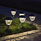 6 Stainless Steel Solar Path Lights with White LEDs, 13